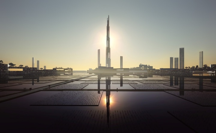 Building almost 2 kilometers high: Sky Mile Tower (Tokyo 2045)