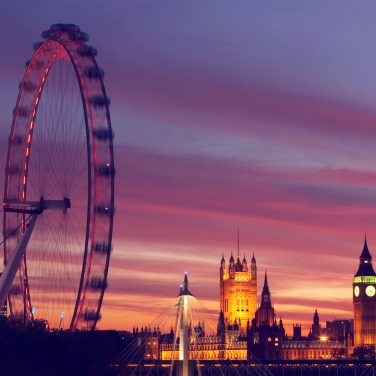 England, London, London Eye and Houses of Parliament, dusk