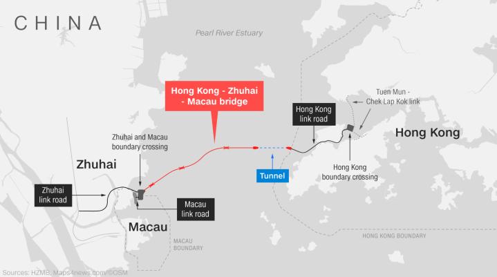 World's longest sea-crossing bridge opens between Hong Kong and China