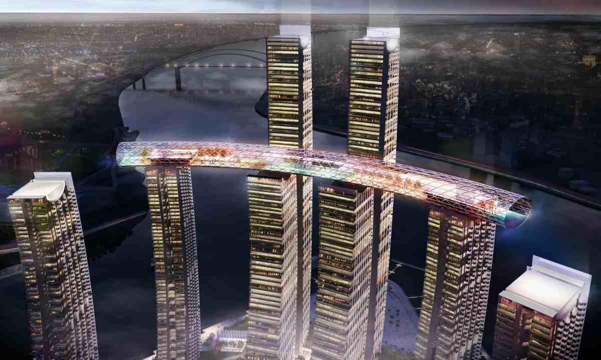 1,100-tonne segment of a 300-metre-long platform was hoisted 250-metres high to be fixed between two towers in Raffles City Chongqing